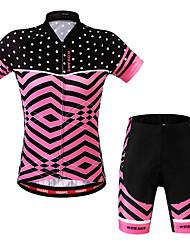 Недорогие -WOSAWE Жен. С короткими рукавами Велокофты и велошорты - Красный Велоспорт Шорты / Джерси / Наборы одежды, 3D-панель, Дышащий Полиэстер, Спандекс Весы / Эластичная