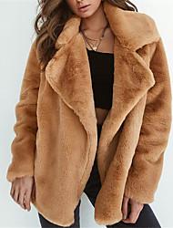 Недорогие -Жен. Пальто с мехом Уличный стиль - Однотонный Меховая оторочка