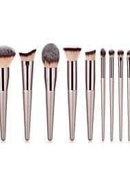 abordables -Paquet de 10 Pinceaux à maquillage Professionnel Maquillage Pinceau en Nylon Couvrant Bois / bambou