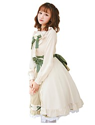 cheap -Sweet Lolita Dress Classic Lolita Dress Princess Lolita Country Lolita Female Party Costume Masquerade Cosplay Beige Stitching Lace Bishop Sleeve Short Sleeve Long Sleeve Knee Length Halloween