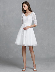cheap -A-Line V Neck Knee Length Lace Made-To-Measure Wedding Dresses with Bow(s) / Sashes / Ribbons by LAN TING BRIDE®