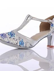 Недорогие -Жен. Обувь для модерна Трикотаж На каблуках Планка Кубинский каблук Персонализируемая Танцевальная обувь Синий