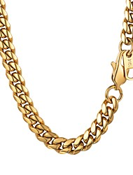 Недорогие -Муж. Ожерелья-цепочки Толстая цепь Мода Нержавеющая сталь Золотой Черный Серебряный 55 cm Ожерелье Бижутерия 1шт Назначение Подарок Повседневные