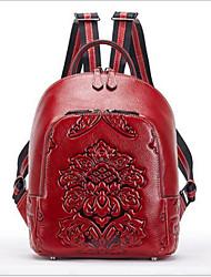 Недорогие -Жен. Мешки Кожа рюкзак Молнии Черный / Красный