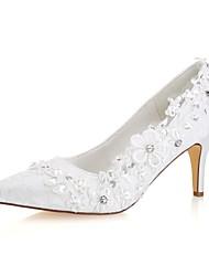 abordables -Femme Escarpins Satin Automne Chaussures de mariage Talon Aiguille Bout pointu Strass Ivoire / Mariage / Soirée & Evénement