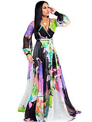 baratos -Mulheres Sofisticado Chifon Vestido - Estampado, Tribal Longo