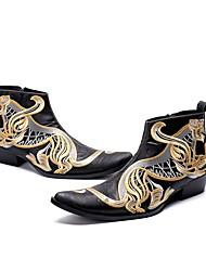 abordables -Homme Chaussures de nouveauté Cuir Nappa Automne hiver British Bottes Augmenter la hauteur Bottine / Demi Botte Noir / Mariage / Soirée & Evénement / Soirée & Evénement / Fashion Boots