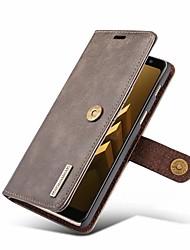 Недорогие -DG.MING Кейс для Назначение SSamsung Galaxy A8 2018 Кошелек / Бумажник для карт / со стендом Чехол Однотонный Твердый Настоящая кожа для A8 2018