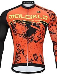 Недорогие -Malciklo Муж. Длинный рукав Велокофты - Оранжевый Мультипликация Велоспорт Джерси, Сохраняет тепло, Анатомический дизайн, Флисовая подкладка, Со светоотражающими полосками, Зима, Флис Мультипликация