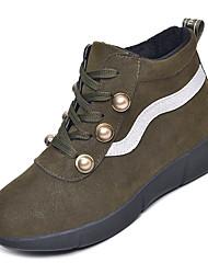 Недорогие -Жен. Fashion Boots Полиуретан Осень На каждый день Ботинки На низком каблуке Сапоги до середины икры Черный / Зеленый
