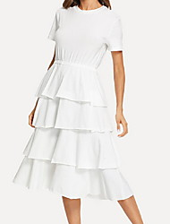 cheap -Women's Basic Swing Dress - Solid Colored Layered