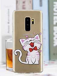 baratos -Capinha Para Samsung Galaxy S9 Plus / S9 Transparente / Estampada Capa traseira Gato Macia TPU para S9 / S9 Plus / S8 Plus
