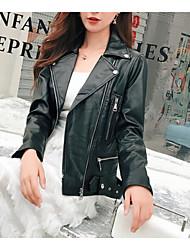 preiswerte -Damen - Solide Lederjacken, Hemdkragen