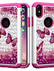 Недорогие -Кейс для Назначение Apple iPhone XR / iPhone XS Max Защита от удара / Стразы Кейс на заднюю панель Бабочка / Стразы Твердый ПК для iPhone XS / iPhone XR / iPhone XS Max