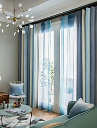 baratos -Cortinas cortinas Sala de Estar Contemporâneo 100% Poliéster Estampado / Sólida