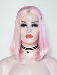 Недорогие -Синтетические кружевные передние парики Жен. Матовое стекло Розовый Стрижка боб Искусственные волосы 12 дюймовый Регулируется / Жаропрочная Розовый Парик Короткие Лента спереди Розовый / Да