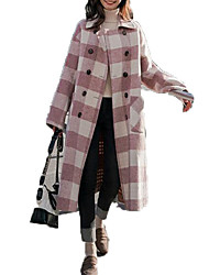 baratos -Mulheres Casaco Moda de Rua - Pontos e Xadrez