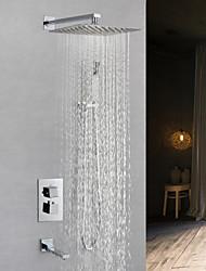 Недорогие -Смеситель для душа - Современный Хром На стену Медный клапан Bath Shower Mixer Taps / Латунь / Одной ручкой четыре отверстия