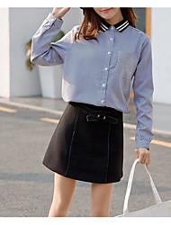 billige -Dame - Stribet Patchwork Basale Skjorte