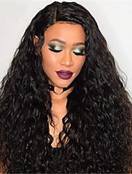 voordelige -Mensen Remy Haar Volledig Kant Kanten Voorkant Pruik Asymmetrisch kapsel Rihanna stijl Braziliaans haar Afro Kinky Zwart Pruik 130% 150% 180% Haardichtheid met babyhaar Dames Gemakkelijke dressing