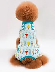 Недорогие -Собаки / Коты Пижамы Одежда для собак Геометрический принт / Цветы Зеленый / Синий / Розовый Хлопок Костюм Для домашних животных Мужской Милый стиль / На каждый день