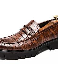 abordables -Homme Chaussures de confort Polyuréthane Automne Rétro Mocassins et Chaussons+D6148 Augmenter la hauteur Noir / Marron