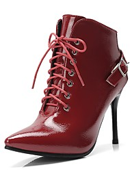 cheap -Women's Bootie Patent Leather Fall & Winter Classic Boots Stiletto Heel Pointed Toe Booties / Ankle Boots White / Black / Wine / Wedding / Party & Evening