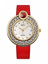 baratos -ASJ Mulheres Relógio Elegante Relógio de Pulso Japanês Quartzo Preta / Vermelho 30 m Impermeável Relógio Casual Legal Analógico senhoras Casual Fashion - Preto Vermelho / imitação de diamante