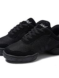 abordables -Femme Baskets de Danse Maille Basket Fantaisie Talon Plat Personnalisables Chaussures de danse Noir
