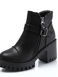 billiga -Dam Fashion Boots PU Höst Minimalism Stövlar Bastant klack Rundtå Korta stövlar / ankelstövlar Svart / Grå / Vin