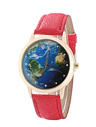 cheap -Women's Dress Watch Wrist Watch Quartz New Design Casual Watch PU Band Analog Casual World Map Black / White / Blue - Red Blue Pink One Year Battery Life