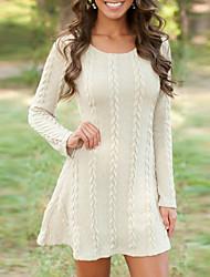 baratos -Mulheres Básico Tricô Vestido Sólido Mini Branco