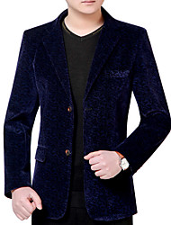 Недорогие -Муж. Блейзер Лацкан с тупым углом Деловая одежда-Однотонный / Длинный рукав / Офис