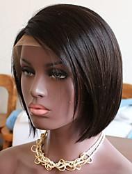 Недорогие -Remy Полностью ленточные Парик Бразильские волосы Естественные кудри Парик Стрижка боб Стрижка каскад 130% Плотность волос Природные волосы Боковая часть Парик в афро-американском стиле Нейтральный