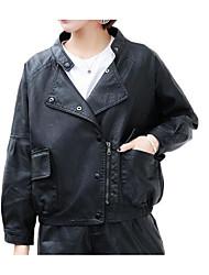 Недорогие -Жен. Кожаные куртки Классический - Однотонный