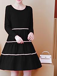 Недорогие -Жен. Классический А-силуэт Платье - Однотонный / Контрастных цветов, Пэчворк Выше колена