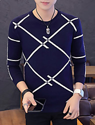 Недорогие -Муж. Классический Пуловер - Однотонный / Полоски