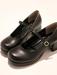 billiga -Klassisk Stil Block Heel Skor Ensfärgat 3-5 cm CM Svart Till PU Halloweenkostymer