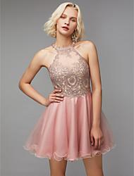 billige -A-linje Høj halset Kort / mini Blondelukning / Tyl Kjole med Perlearbejde / Blonde ved TS Couture®