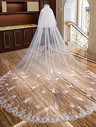 Недорогие -Два слоя Кружевная кромка Свадебные вуали Фата для венчания с Пайетки / Аппликации Кружева / Тюль