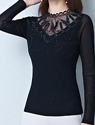Недорогие -Жен. Сетка / Кружевная отделка Блуза Классический Однотонный