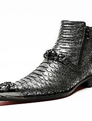 baratos -Homens Fashion Boots Pele Napa Inverno Formais Botas Manter Quente Botas Curtas / Ankle Dourado / Preto / Pedrarias / Festas & Noite