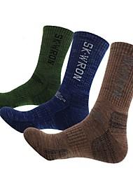 Недорогие -Носки для пешеходного туризма Толстые короткие носки 3 пары Легкость Стреч Мода Хлопок Зима для Муж. Катание на лыжах Восхождение На открытом воздухе Темно-синий / Эластичная