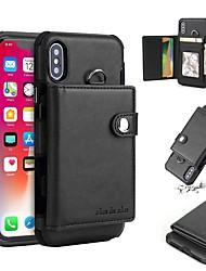 Недорогие -Кейс для Назначение Apple iPhone X / iPhone 8 Pluss / iPhone 8 Кошелек / Бумажник для карт / Защита от удара Кейс на заднюю панель Однотонный Твердый Кожа PU