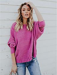 Недорогие -Жен. Длинный рукав Пуловер - Однотонный V-образный вырез / Осень