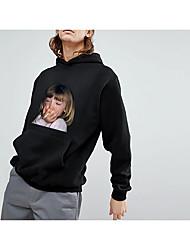 baratos -Homens Activo / Básico Calças - 3D / Retrato Estampado Vermelho / Com Capuz / Esportes / Manga Longa / Outono / Inverno