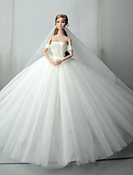 Недорогие -Платья Платье Для Barbiedoll Белый Тюль / Кружево / Шелково-шерстяная ткань Платье Для Девичий игрушки куклы