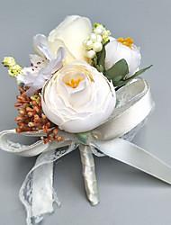 abordables -Fleurs de mariage Boutonnières / Petit bouquet de fleurs au poignet Mariage / Soirée Polyester 7cm