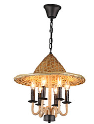 cheap -6-Light Industrial Chandelier Ambient Light - Candle Style, 110-120V / 220-240V Bulb Not Included