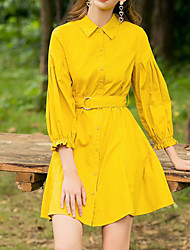 baratos -Mulheres Para Noite Delgado Bainha / Camisa Vestido Decote Quadrado Acima do Joelho